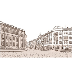 The ancient European street paved by a stone block vector image vector image