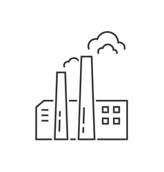 black thin line factory icon vector image
