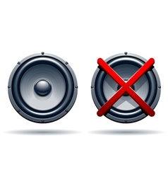 On off mode speakers vector image vector image