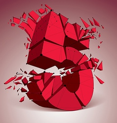 3d low poly red number 5 with black connected vector image vector image