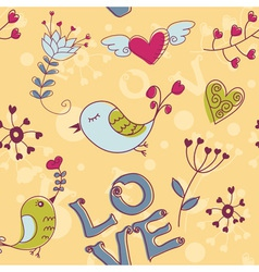 birds seamless love darkyellow vector image