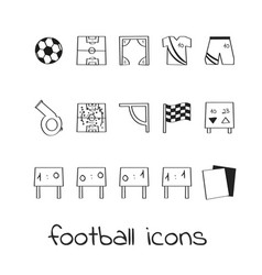 hand draw icons football collection of linear vector image