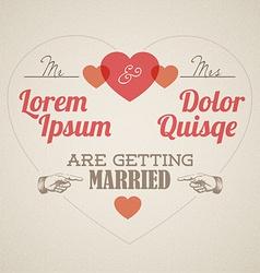 Retro Wedding invitation with hearts vector image vector image