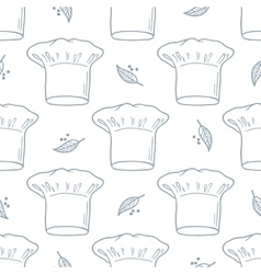 Seamless pattern with hand drawn chef hat Kitchen vector image vector image