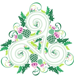 Celtic triad with flowers of thistles vector image vector image