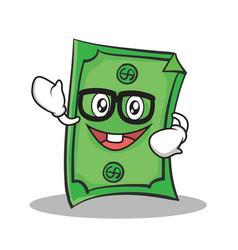 geek face dollar character cartoon style vector image