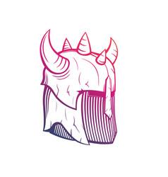warrior helmet with horns medieval armor vector image