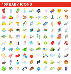 100 baby icons set isometric 3d style vector