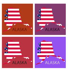 Alaska state of america with map flag print on vector