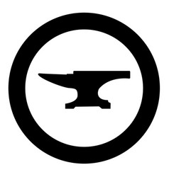 Anvil block icon black color in circle vector