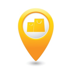 bag icon map pointer yellow vector image