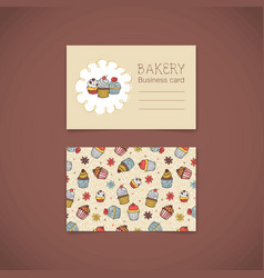 Bakery business card with capcakes vector