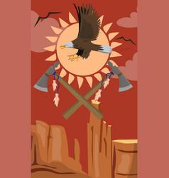 Bald eagle flying tomahawk emblem vector