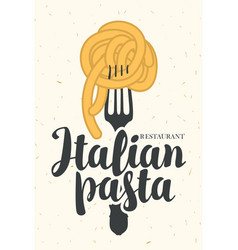 Banner with italian pasta on fork vector