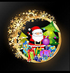 beautiful christmas with gifts and golden vector image