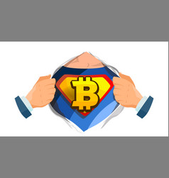 bitcoin sign superhero open shirt with vector image