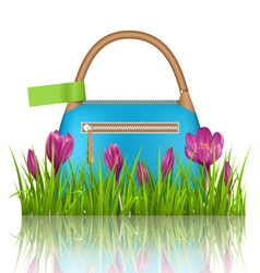 Blue woman spring bag with crocuses flowers and vector image