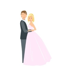Bride With Short Blond Hair And Groom Newlywed vector