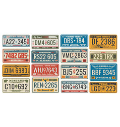 car license plates for vehicles signboards vector image