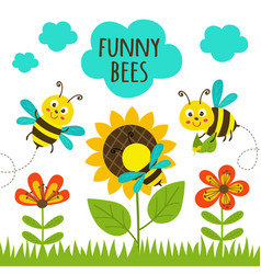 Card with funny bees vector
