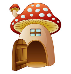 Cartoon mushroom house with open door vector