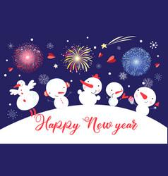 christmas card with snowmen on a blue sky vector image