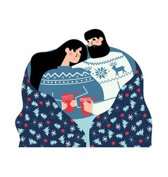 christmas couple under holiday blanket vector image
