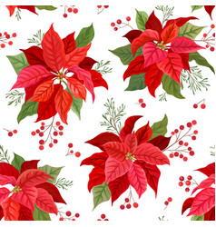 christmas seamless pattern with winter flower vector image