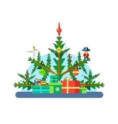 Christmas tree with toys vector image