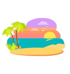 coast in summer season evening illustration vector image