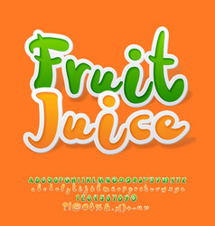 colorful sticker style alphabet with fruit vector image