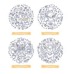 Creative process doodle vector