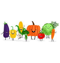Cute cartoon vegetables isolated on white vector