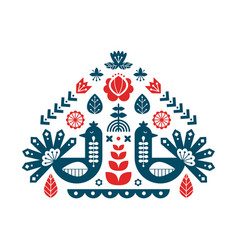 decorative print with peacock and floral elements vector image