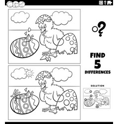 Differences game with easter chicks coloring book vector