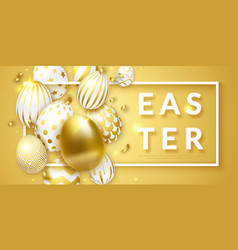 easter background with realistic golden decorated vector image