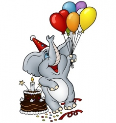 Elephant happy birthday vector