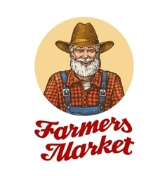 Farmers market logo or icon Farmer in hat vector