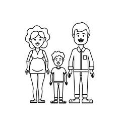 Figure couple with their son icon vector