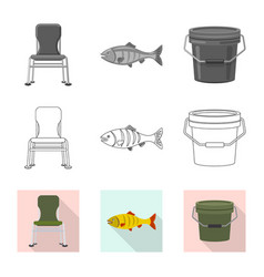 Fish and fishing icon vector