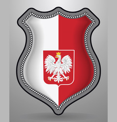 Flag of poland with eagle badge and icon vector
