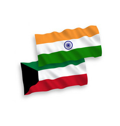 Flags india and kuwait on a white background vector
