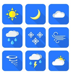 flat style colored weather forecast icons set vector image