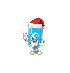 Friendly wall hand sanitizer santa with ok finger vector