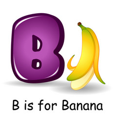 Fruits alphabet b is for banana fruits vector