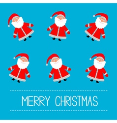Funny cartoon santas blue background vector