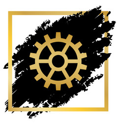 gear sign golden icon at black spot vector image