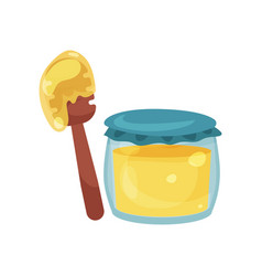 glass jar full of honey and wooden dipper vector image