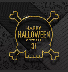 glitter gold contour a skull with halloween vector image