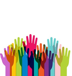 group of colored hands up vector image